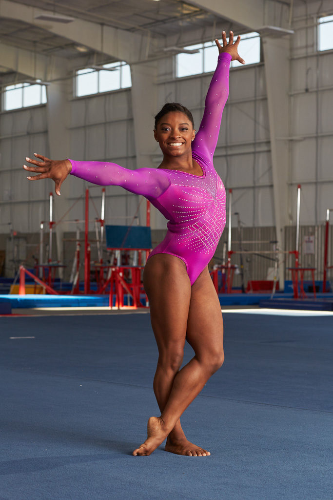 Three-time world champion and Olympic hopeful Simone Biles photographed by portrait photographer Nathan Lindstrom in Houston, TX.